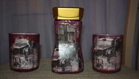Ідеї декупажу банок з-під кави (16 фото): майстер-клас з декупажу скляних баночок серветками в стилі прованс. Найкраще оформлення кавовій банки