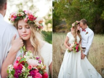 Ідеї для весільних фотосесій (85 фото): приклади для літніх, зимових та осінніх весіль на природі, в листопаді або жовтні з кіньми в лісі