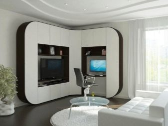 Шафу у вітальню під телевізор (42 фото): вибираємо шафа на всю стіну в зал, кутовий навісний і вбудований шафа для одягу