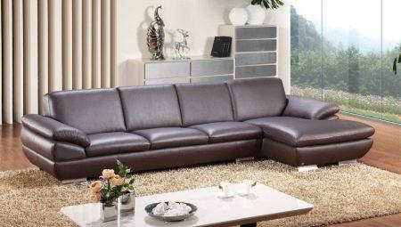 Шкіряні дивани у вітальню (28 фото): дизайн інтер'єру з великими елітними коричневими і іншого кольору диванами з шкіри