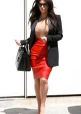 Шкіряна спідниця олівець (46 фото): з чим носити, образи, чорна, червона і коричнева спідниця