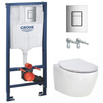 Унітази Grohe: особливості підвісних безободковых і підлогових моделей, огляд унітазів Bau Ceramic і Euro Ceramic, інсталяції Solido і Rapid SL, відгуки покупців